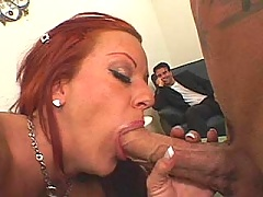 Redhead wife slut rides Julians man meat while her hubby looks on