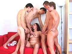 Eager mature MILF takes the dirtiest fucking ever from four horny young guys and enjoys their cum