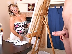 Amber Bach gets a playfull cock in her art studio