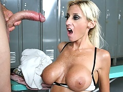 Regan Anthony loves big cocks and gets to fuck one in the showers
