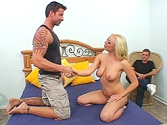 Horny big tit wife rides Julians massive meat backwards cowgirl style