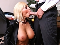 Sexy blond babe convinces her coworker to give her his big cock