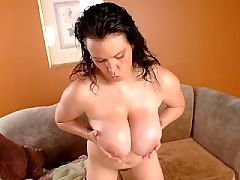 Angelica gets pounded between her tits to orgasm