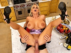 Hot milf gets her pussy destroyed by a waiters huge cock