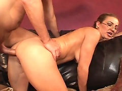 Brunette loves her pussy filled with young man meat