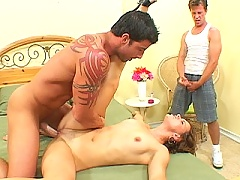 Short haired brunette wife gets stuffed full of cock while hubby watches