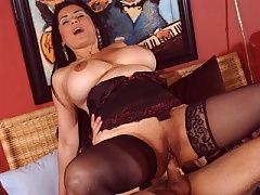 Mommy Tiana Rose showing her massive melons in hardore action