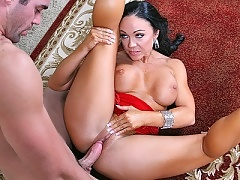 Cherokee teaches a cock tango lessons