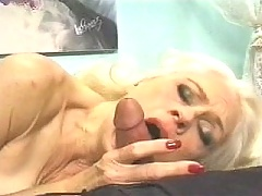 Filthy granny sucking cock before anal